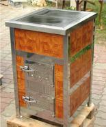 00350310 Piec grzewczy na węgiel 8kW Duży, drzwi chrom z płaszczem wodnym (wylot spalin: tył)