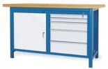 00853638 Stół warsztatowy, 1 drzwi, 5 szuflad (wymiary: 1500x900x740 mm)