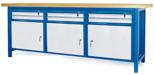 00853658 Stół warsztatowy, 3 drzwi, 6 szuflad (wymiary: 2100x900x740 mm)