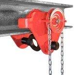0301437 Wózek ręczny jezdny z łańcuszkiem i napędem (udźwig: 3,0 T, szerokość półki: 74-200mm)