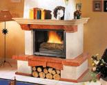 03356614 Obudowa z marmuru patynowanego z belką dębową Bergamo do wkładów żeliwnych podnoszonych do góry