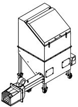 06652833 Automatyczny podajnik do spalania biomasy 0,6m3 230V 40kW, głowica: żeliwna (paliwo: trociny, wióry, zrębki, kora, brykiet, agrobrykiet, pellet, pestki owoców)