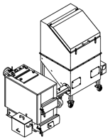 06652954 Automatyczny zestaw do spalania biomasy 2m3 230V 30kW, głowica: żeliwna, bez systemu usuwania popiołu (paliwo: trociny, wióry, zrębki, kora, brykiet, agrobrykiet, pellet, pestki owoców)