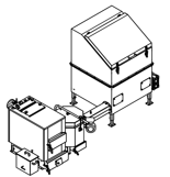 06653047 Automatyczny zestaw do spalania biomasy 1m3 400V 30kW, głowica: ceramiczna, bez systemu usuwania popiołu (paliwo: trociny, wióry, zrębki)