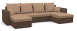 11260945 Narożnik z funkcją spania i poduszkami, sprężyna bonell (wymiary: 305x140 cm)