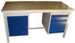 13340633 Stół warsztatowy z jedną szafką uchylną i jedną czteroszufladową SW (wymiary: 1300x700x850 mm)