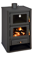 23055338 Piec wolnostojący 14kW z piekarnikiem na drewno, węgiel (górny wylot spalin: 130mm)