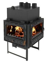 23055380 Wkład kominkowy 18kW z płaszczem wodnym + doprowadzenie ciepłego powietrza (narożny)