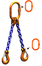 33948219 Zawiesie łańcuchowe dwucięgnowe klasy 10 miproSling AS 14,0/10,0 (długość łańcucha: 1m, udźwig: 10-14 T, średnica łańcucha: 16 mm, wymiary ogniwa: 200x110 mm)