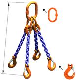33948234 Zawiesie łańcuchowe czterocięgnowe klasy 10 miproSling HCS 30,0/21,2 (długość łańcucha: 1m, udźwig: 21,2-30 T, średnica łańcucha: 19 mm, wymiary ogniwa: 350x190 mm)