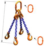 33948239 Zawiesie łańcuchowe czterocięgnowe klasy 10 miproSling AS 21,2/15,0 (długość łańcucha: 1m, udźwig: 15-21,2 T, średnica łańcucha: 16 mm, wymiary ogniwa: 260x140 mm)