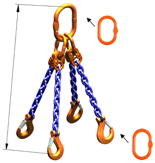 33948241 Zawiesie łańcuchowe czterocięgnowe klasy 10 miproSling AS 40,0/28,0 (długość łańcucha: 1m, udźwig: 28-40 T, średnica łańcucha: 22 mm, wymiary ogniwa: 350x190 mm)