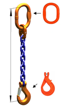 33948245 Zawiesie łańcuchowe jednocięgnowe klasy 10 miproSling KLHW 14 (długość łańcucha: 1m, udźwig: 14 T, średnica łańcucha: 19 mm, wymiary ogniwa: 200x110 mm)