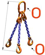 33948271 Zawiesie łańcuchowe trzycięgnowe klasy 10 miproSling A8W 30,0/21,2 (długość łańcucha: 1m, udźwig: 21,2-30 T, średnica łańcucha: 19 mm, wymiary ogniwa: 350x190 mm)
