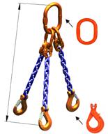 33948276 Zawiesie łańcuchowe trzycięgnowe klasy 10 miproSling KLHW 30,0/21,2 (długość łańcucha: 1m, udźwig: 21,2-30 T, średnica łańcucha: 19 mm, wymiary ogniwa: 350x190 mm)