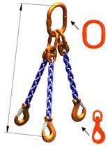 33948287 Zawiesie łańcuchowe trzycięgnowe klasy 10 miproSling WLHW 21,2/15,0 (długość łańcucha: 1m, udźwig: 15-21,2 T, średnica łańcucha: 16 mm, wymiary ogniwa: 260x140 mm)