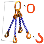 33948306 Zawiesie łańcuchowe czterocięgnowe klasy 10 miproSling KFW 30,0/21,2 (długość łańcucha: 1m, udźwig: 21,2-30 T, średnica łańcucha: 19 mm, wymiary ogniwa: 350x190 mm)