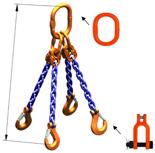 33948317 Zawiesie łańcuchowe czterocięgnowe klasy 10 miproSling KSCHW 14,0/10,0 (długość łańcucha: 1m, udźwig: 10-14 T, średnica łańcucha: 13 mm, wymiary ogniwa: 200x110 mm)