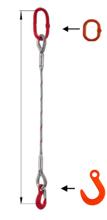 33948343 Zawiesie linowe jednocięgnowe miproSling FW 14,00 (długość liny: 1m, udźwig: 14 T, średnica liny: 36 mm, wymiary ogniwa: 275x150 mm)