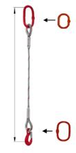 33948351 Zawiesie linowe jednocięgnowe miproSling T 17,00 (długość liny: 1m, udźwig: 17 T, średnica liny: 40 mm, wymiary ogniwa: 275x150 mm)
