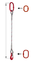 33948355 Zawiesie linowe jednocięgnowe miproSling T 33,50 (długość liny: 1m, udźwig: 33,5 T, średnica liny: 56 mm, wymiary ogniwa: 350x190 mm)
