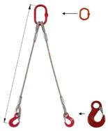 33948368 Zawiesie linowe dwucięgnowe miproSling HE 23,5/17,0 (długość liny: 1m, udźwig: 17-23,5 T, średnica liny: 40 mm, wymiary ogniwa: 340x180 mm)