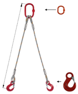 33948370 Zawiesie linowe dwucięgnowe miproSling HE 35,0/25,0 (długość liny: 1m, udźwig: 25-35 T, średnica liny: 48 mm, wymiary ogniwa: 350x190 mm)