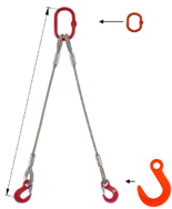 33948380 Zawiesie linowe dwucięgnowe miproSling FW 35,0/25,0 (długość liny: 1m, udźwig: 25-35 T, średnica liny: 48 mm, wymiary ogniwa: 350x190 mm)