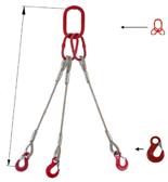 33948408 Zawiesie linowe trzycięgnowe miproSling HE 18,0/12,5 (długość liny: 1m, udźwig: 12,5-18 T, średnica liny: 28 mm, wymiary ogniwa: 275x150 mm)