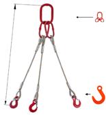 33948422 Zawiesie linowe trzycięgnowe miproSling FW 15,0/11,0 (długość liny: 1m, udźwig: 11-15 T, średnica liny: 26 mm, wymiary ogniwa: 230x130 mm)