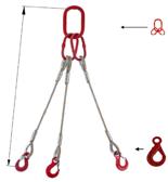 33948433 Zawiesie linowe trzycięgnowe miproSling LE 23,5/16,5 (długość liny: 1m, udźwig: 16,5-23,5 T, średnica liny: 32 mm, wymiary ogniwa: 340x180 mm)
