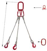 33948437 Zawiesie linowe trzycięgnowe miproSling T 23,5/16,5 (długość liny: 1m, udźwig: 16,5-23,5 T, średnica liny: 32 mm, wymiary ogniwa: 340x180 mm)