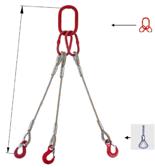 33948454 Zawiesie linowe trzycięgnowe miproSling FK 36,0/26,0 (długość liny: 1m, udźwig: 26-36 T, średnica liny: 40 mm, wymiary ogniwa: 350x190 mm)