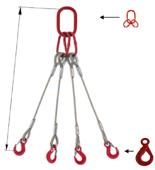 33948486 Zawiesie linowe czterocięgnowe miproSling LE 11,0/7,8 (długość liny: 1m, udźwig: 7,8-11 T, średnica liny: 22 mm, wymiary ogniwa: 230x130 mm)