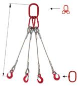 33948498 Zawiesie linowe czterocięgnowe miproSling T 36,0/26,0 (długość liny: 1m, udźwig: 26-36 T, średnica liny: 40 mm, wymiary ogniwa: 350x190 mm)