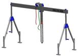 33959999 Wciągarka bramowa aluminiowa z wózkiem pchanym i wciągnikiem łańcuchowym miproCrane DELTA 400M (udźwig: 1500 kg, szerokość: 4100 mm, wysokość: 1640/2740 mm)