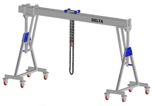 33960094 Wciągarka bramowa aluminiowa z możliwością przejazdu pod obciążeniem, z wózkiem pchanym i wciągnikiem łańcuchowym miproCrane DELTA 800M (udźwig: 2000 kg, szerokość: 4100 mm, wysokość: 2210/2560 mm)