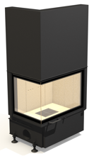 48946351 Wkład kominkowy powietrzny 14kW ARYSTO A11 L 510 DJ H szyba podnoszona do góry (lewa boczna szyba bez szprosa, wymiar frontu: 675/455 x 510)