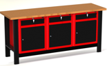 87853459 Stół warsztatowy z szafką, 3 szuflady, 3 drzwi - blat pokryty gumą (wymiary: 1960x890x600 mm)