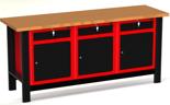 87853460 Stół warsztatowy z szafką, 3 szuflady, 3 drzwi - blat obity blachą (wymiary: 1960x890x600 mm)