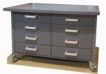 91059978 Stół z szufladami na kółkach, 8 szuflad (blat: 120x78 cm, wys: 78 cm)
