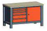 99551550 Stół dwójka, stelaż z blatem, 1 drzwi, 5 szuflad (wymiary: 850-900x1400x700 mm)