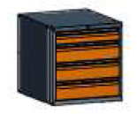 99551579 Szafka typ L, 4 szuflady 150+150+150+100 (wymiary: 625x600x690 mm)