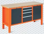 99551616 Stół warsztatowy, 4 szuflady, 2 drzwi (wymiary: 850-900x1765x620 mm)