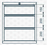 99551630 Szafka typ H, 3 szuflady (wymiary: 625x520x550 mm)