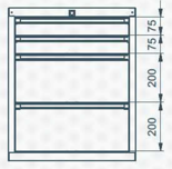 99551631 Szafka typ I, 4 szuflady (wymiary: 625x520x550 mm)