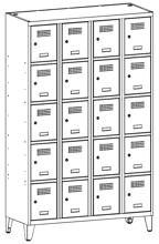 99552037 Szafka ze schowkami 0,5mm na nóżkach, 20 drzwi (wymiary: 1940x1200x500 mm)