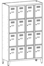 99552085 Szafka ze schowkami 0,8mm na nóżkach, 16 drzwi (wymiary: 1940x1200x500 mm)
