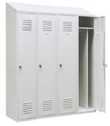 99552189 Szafka ubraniowa 0,8mm ze skośnym daszkiem, zamek ryglujący drzwi w 3 punktach, 4 drzwi (wymiary: 2000x1200x490 mm)
