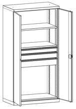 99552481 Szafa warsztatowa, 2 półki, 3 szuflady (wymiary: 1950x1000x540 mm)
